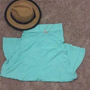 Dresses & Skirts - Mint/White Striped Flare Maxi Skirt